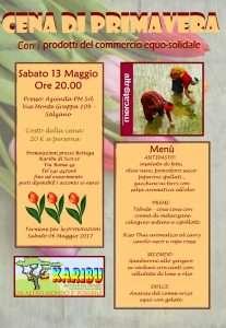 Cena di primavera con i prodotti del commercio equo-solidale – SAB 13/05, ore 20:00